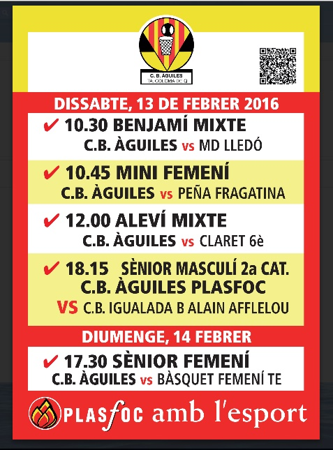 cartell @cbaguiles 13 i 14 de Febrer