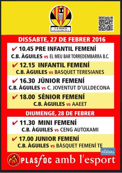 cartell partits @cbaguiles 27 i 28 de Febrer de 2016