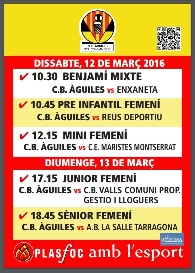 cartell partits @cbaguiles 12 i 13 de Març 2016
